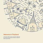 Benvenuti al modello di Thailandia. Concetto di design disegnato a mano con la