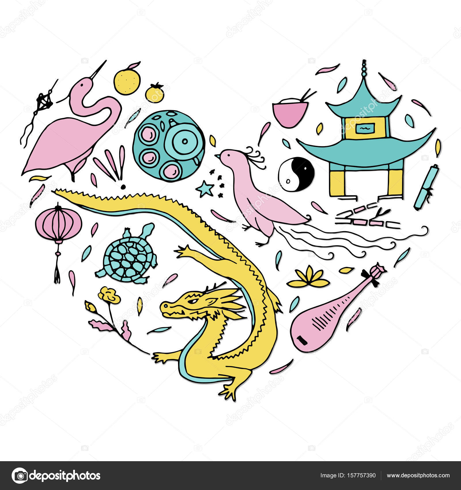 Culture of china in the form of heart hand drawn chinese symbol culture of china in the form of heart hand drawn chinese symbol stock vector buycottarizona