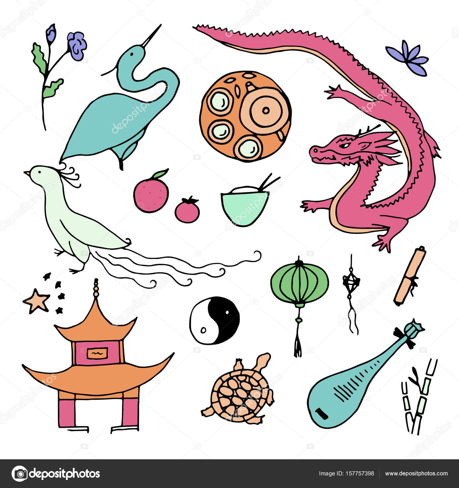 Culture Of China Icons Hand Drawn Chinese Symbols Stock Vector