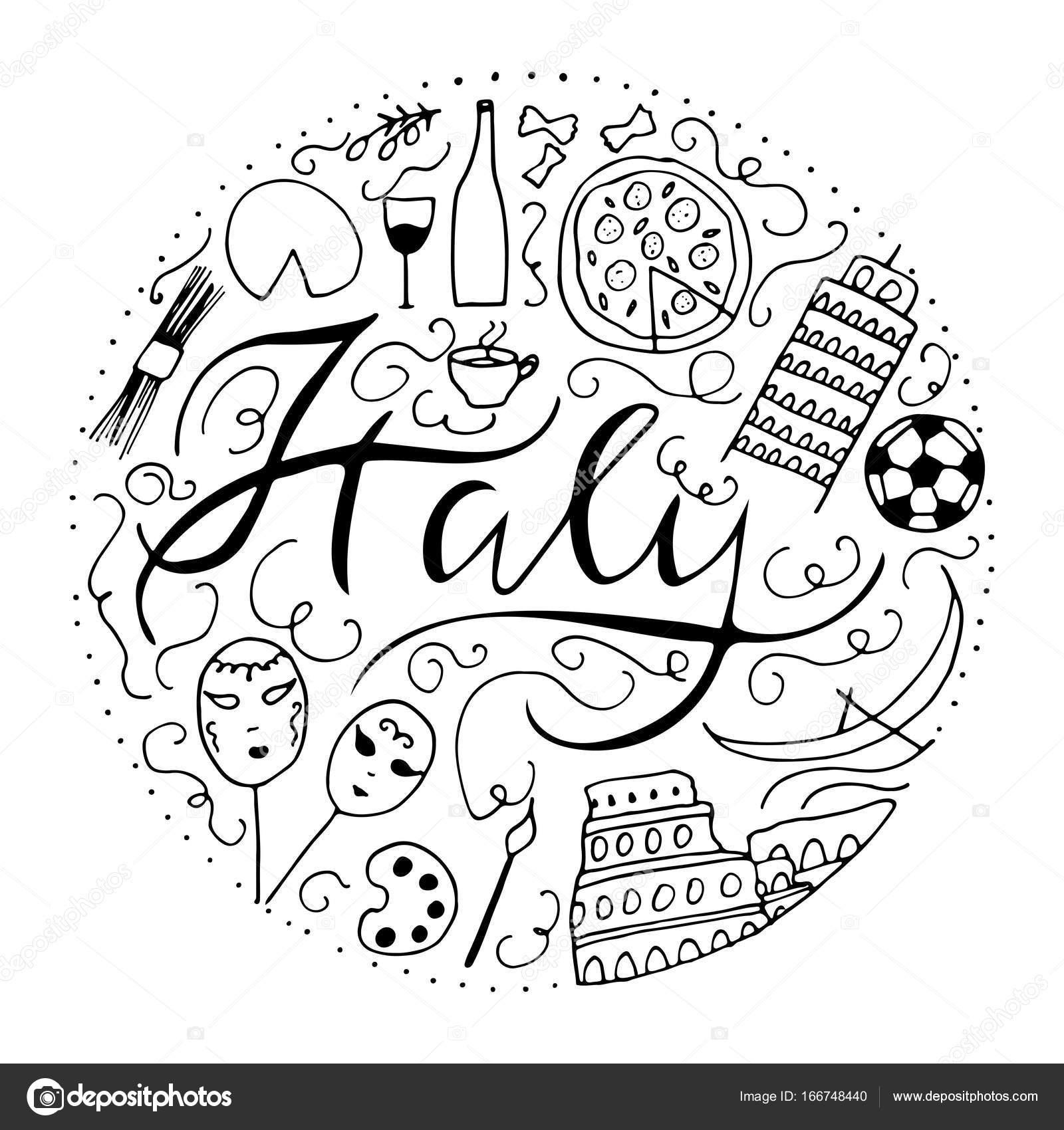 Symbols Of Italy Stock Vector Elinkim 166748440