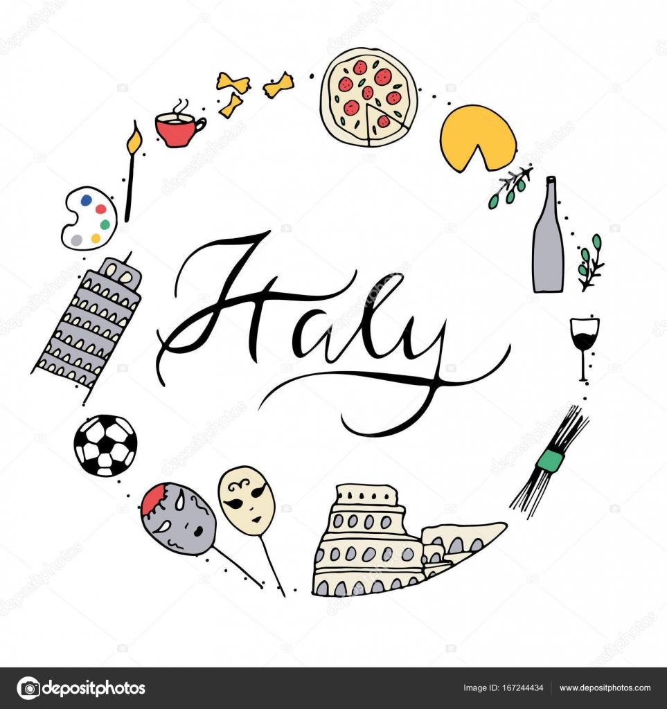 Symbols Of Italy Stock Vector Elinkim 167244434