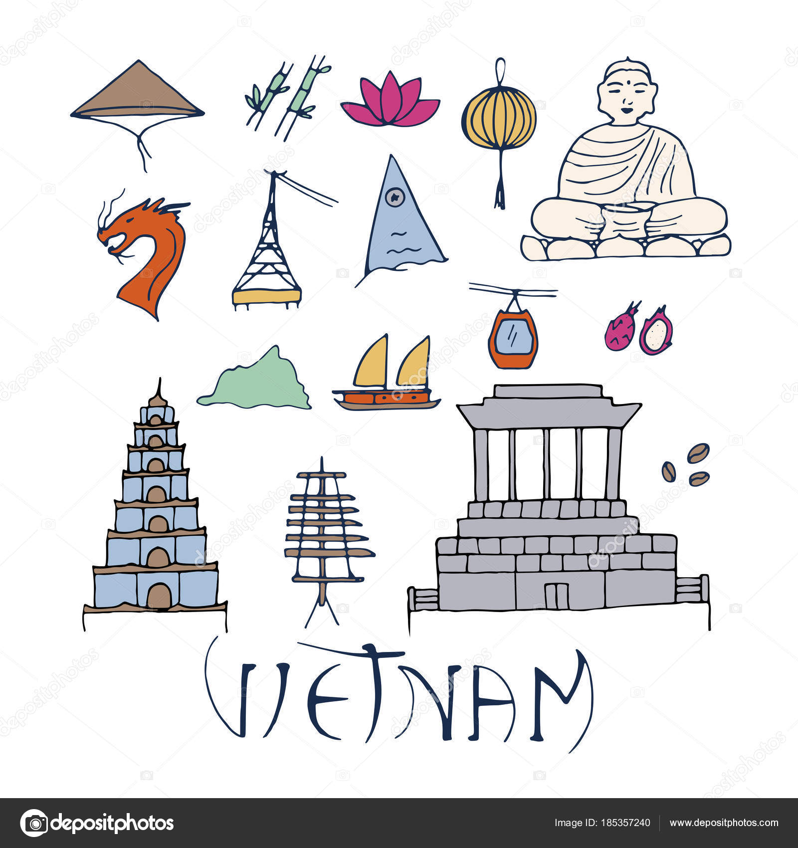 Main Symbols Of Vietnam Isolated On White Background Stock Vector