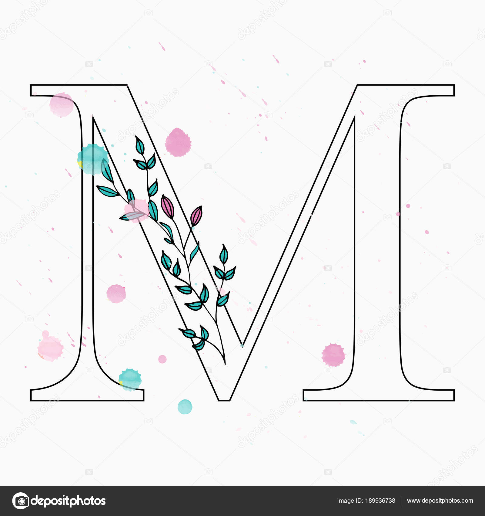 M Letter Hand Drawn Floral Alphabet With Watercolor Drops Stock