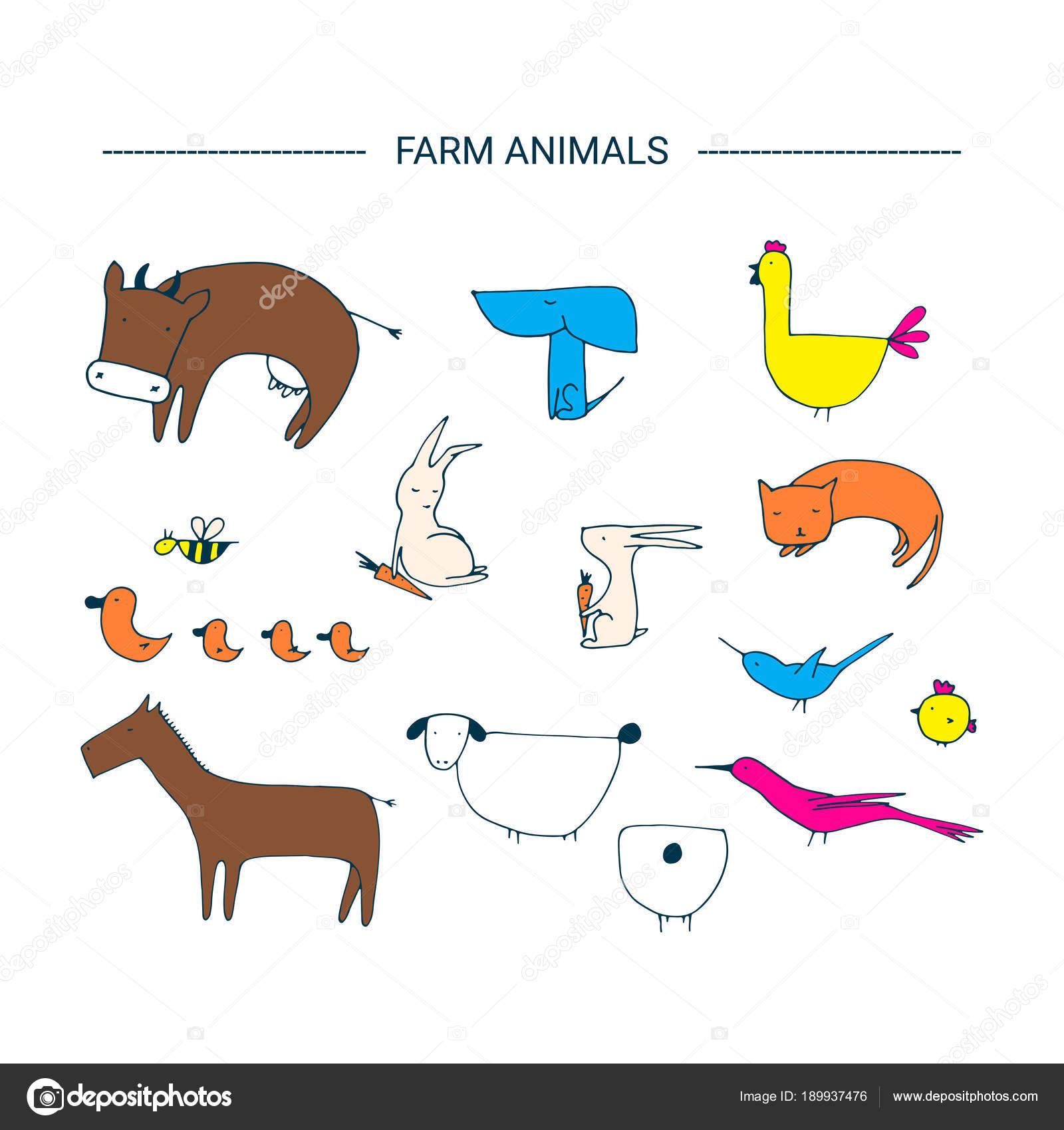 ファーム動物クリップアート要素 — ストックベクター © elinkim #189937476