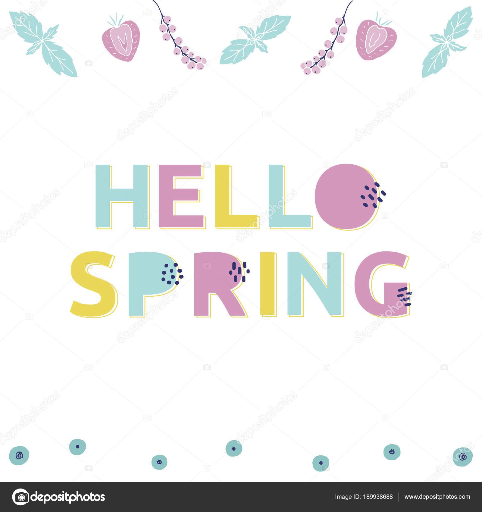Frühling Illustration Mit Clipart Elemente Alphabet Stockvektor
