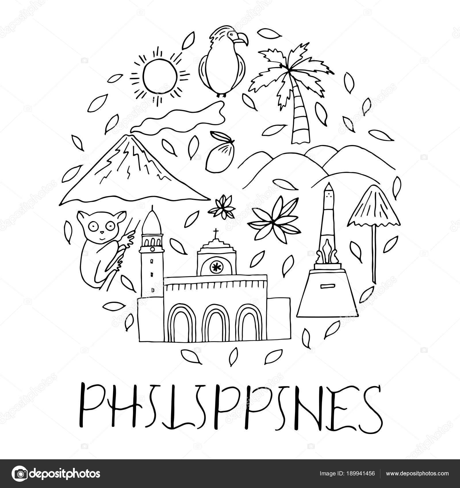 Símbolos nacionales de Filipinas en forma de círculo — Vector de ...