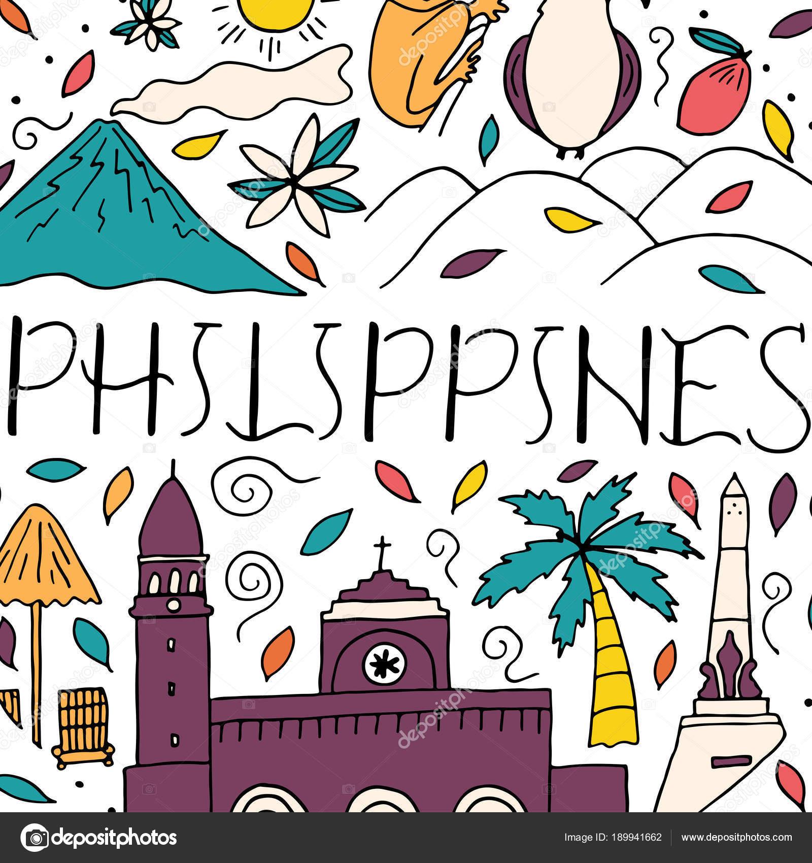 Letras de mano y elementos de doodle de Filipinas — Archivo Imágenes ...