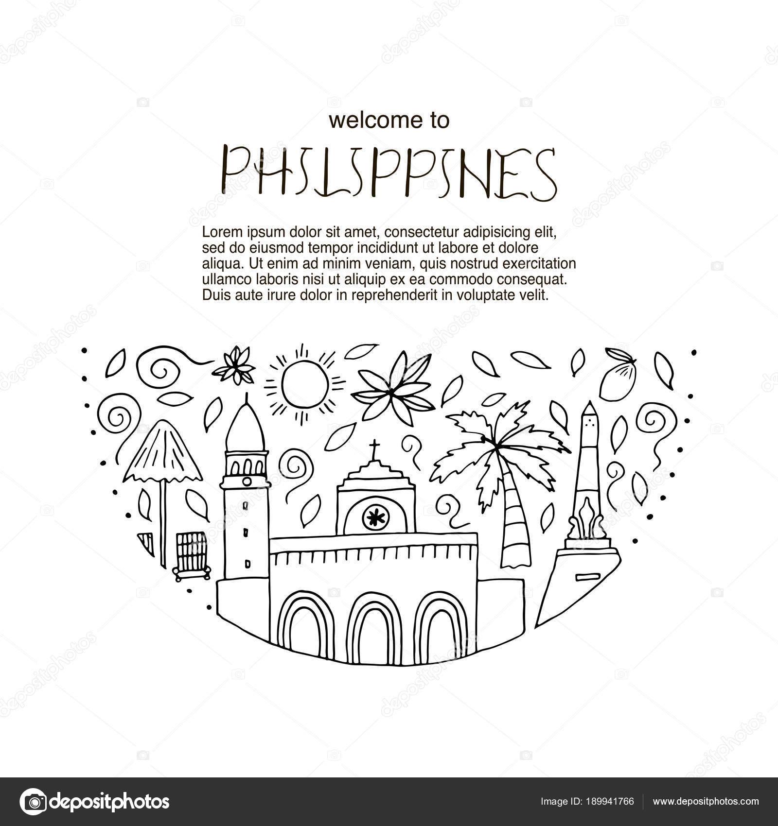 Concepto de diseño con símbolos principales de Filipinas — Vector de ...