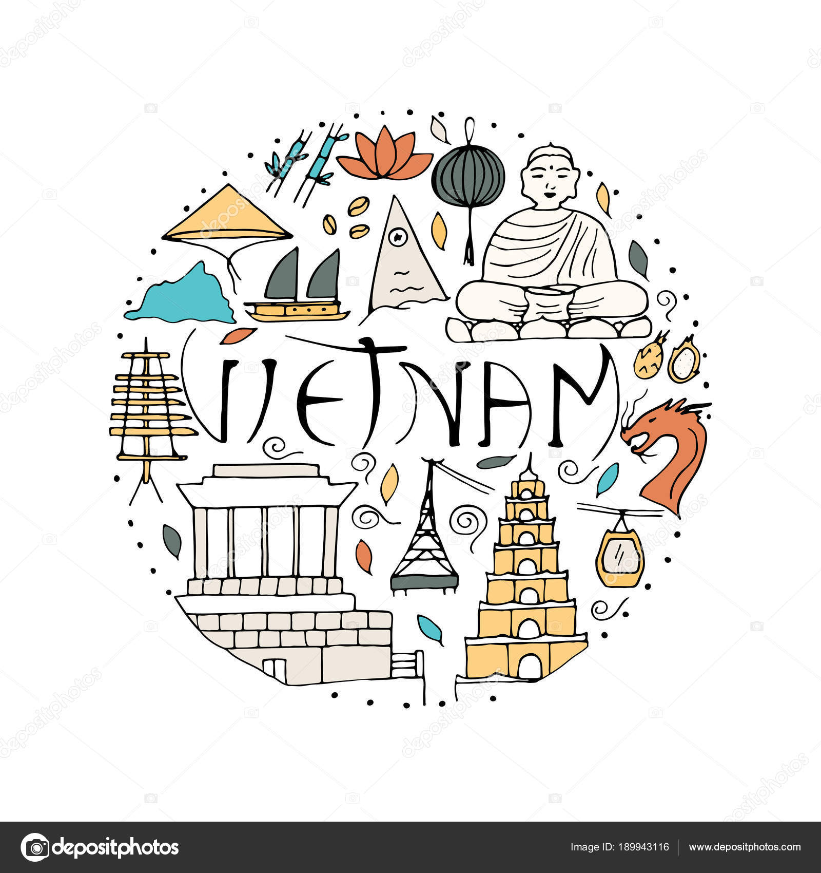 All Main Attractions And Symbols Of Vietnam Country Stock Vector