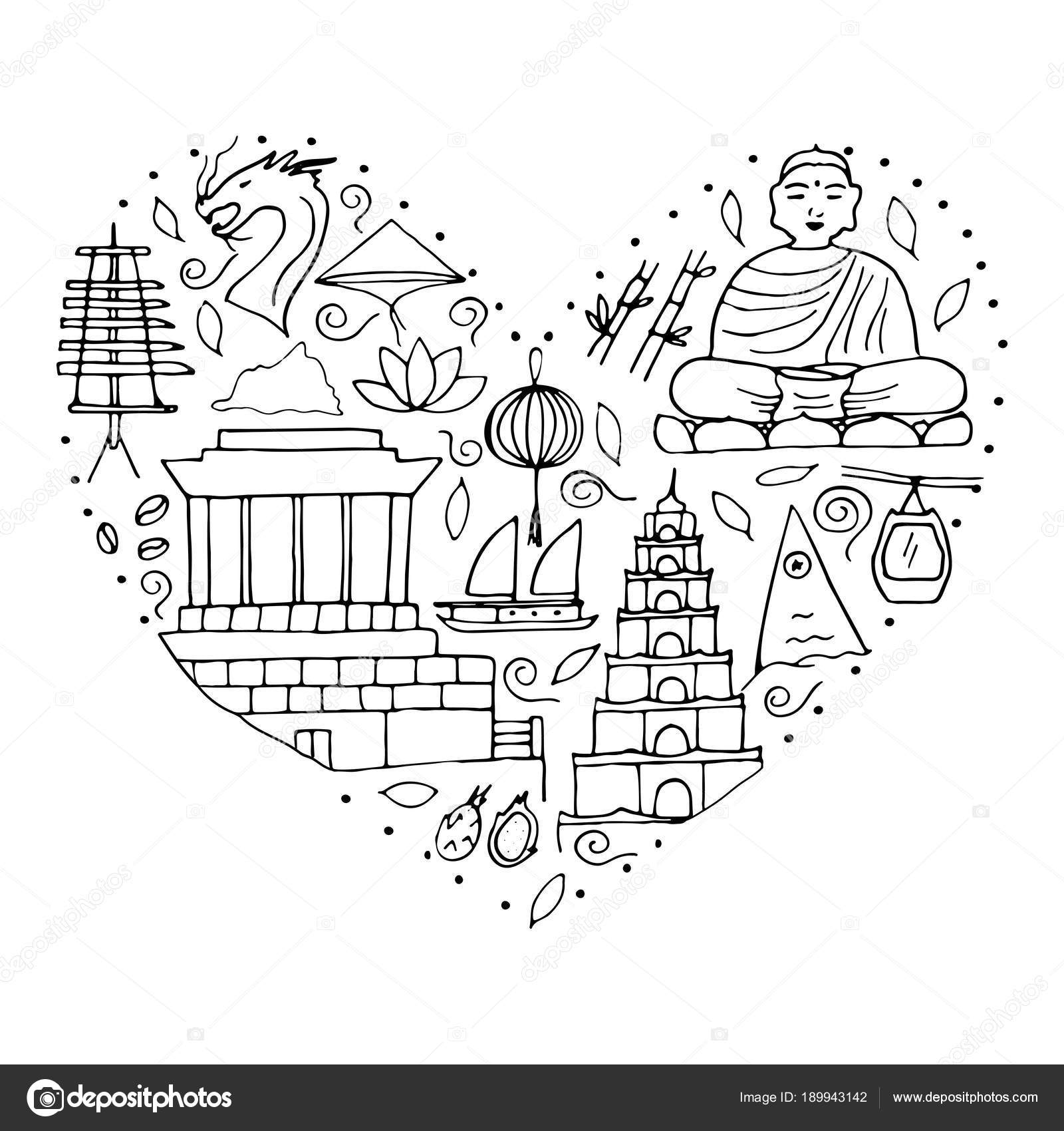 Culture Of Vietnam Asian Architectures Symbols Stock Vector