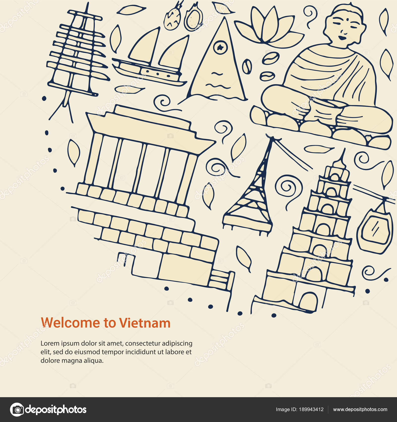 Design Concept With Symbols Of Vietnam And Simple Text Stock