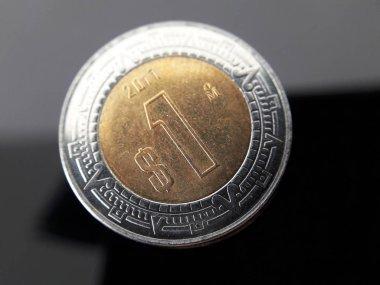 Macro photo of a Mexican peso coin.