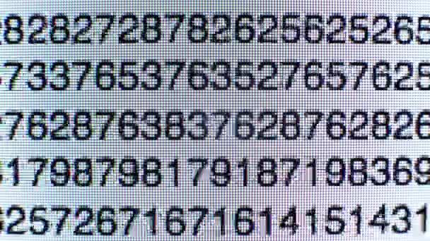 Time-Lapse čísel na text skriptu počítače obrazovky data kódu