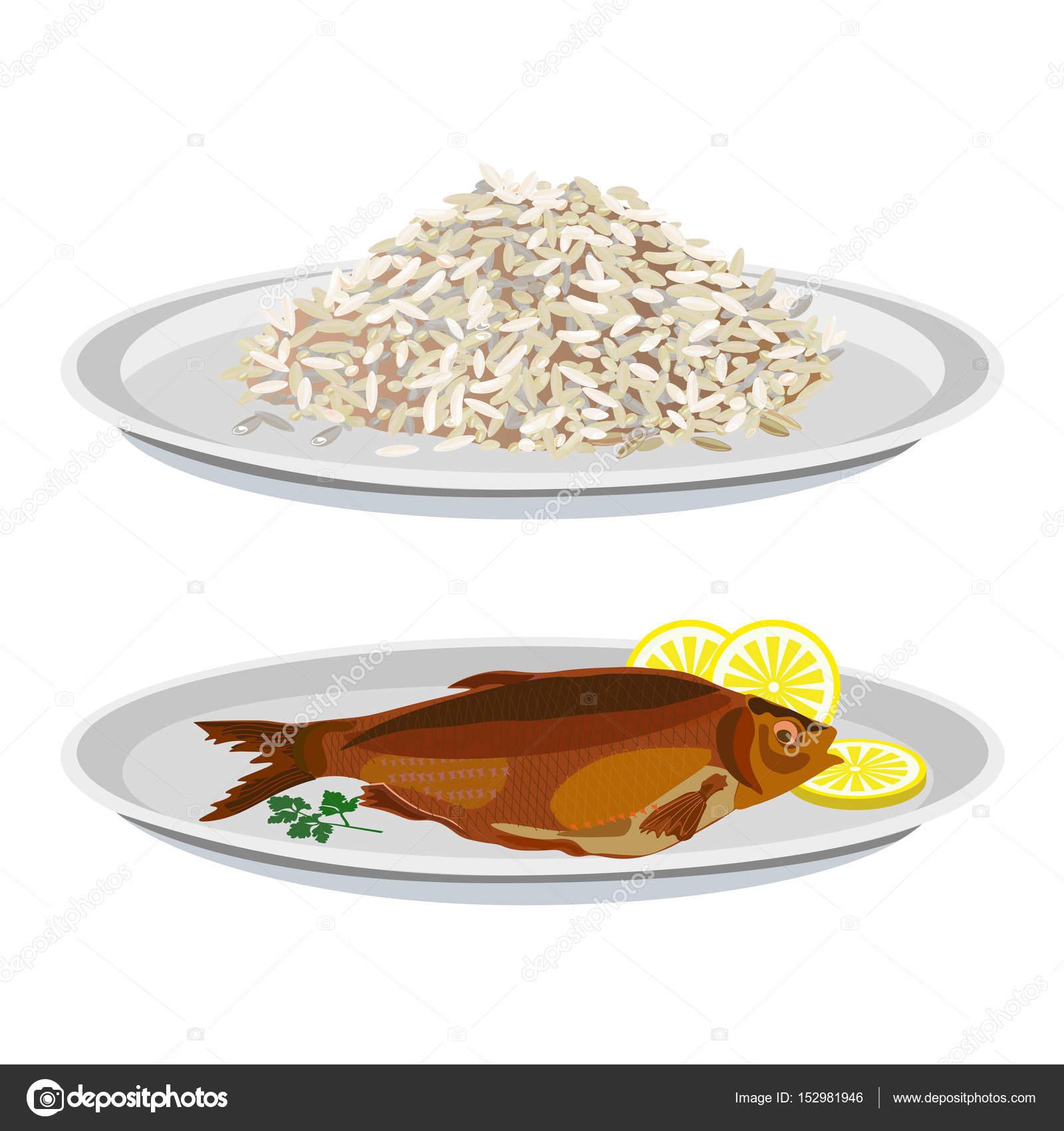 Plates with rice and fried fish \u2014 Stock Vector  sc 1 st  Depositphotos & Plates with rice and fried fish \u2014 Stock Vector © newgena #152981946