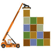 Photo Reach stacker with containers.