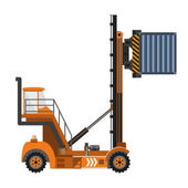 Photo Reach stacker with container.