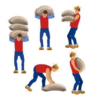 Workers carrying sacks.