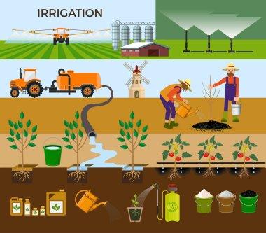 Set of vector illustrations for irrigation