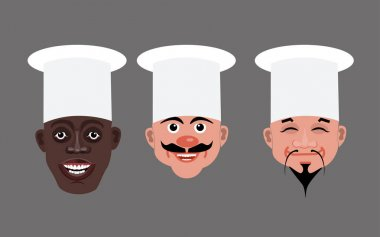 Chef heads vector illustration