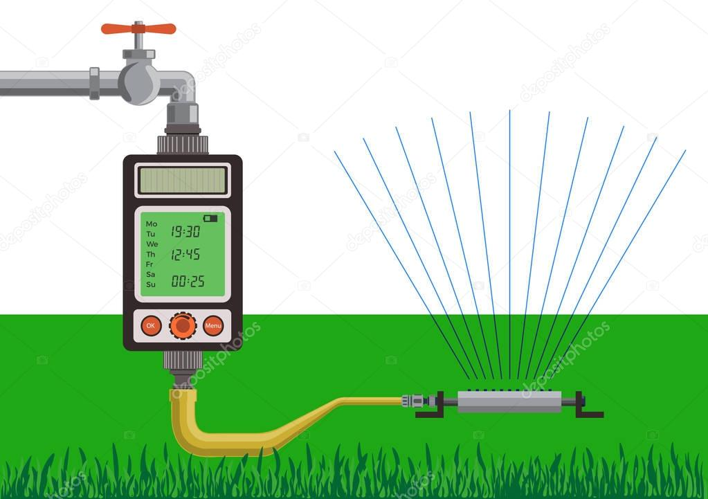 Lawn watering using water timer