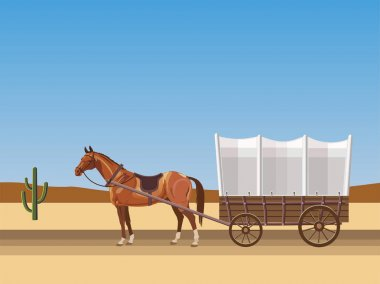 Horse-drawn covered wagon