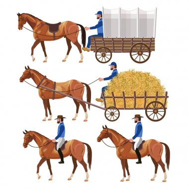 Horse carriage and riders.