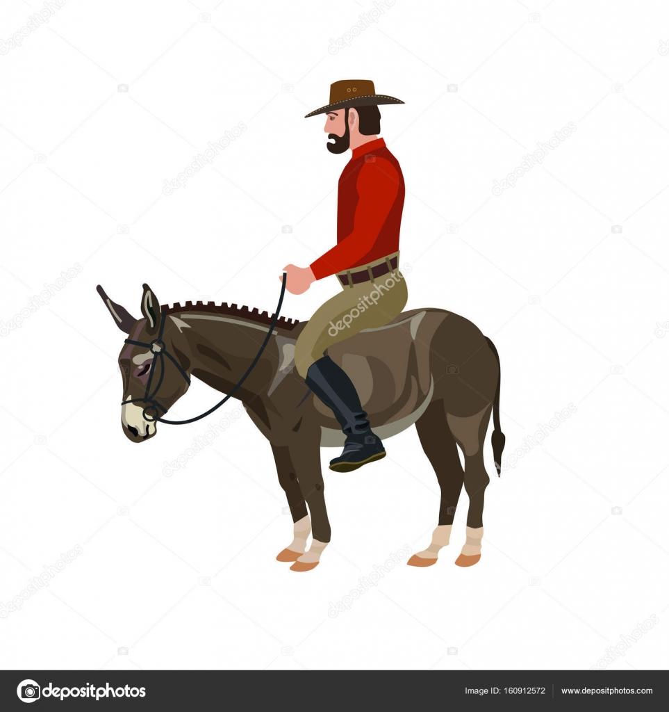 Hombre Montando En Burro Archivo Imágenes Vectoriales Newgena
