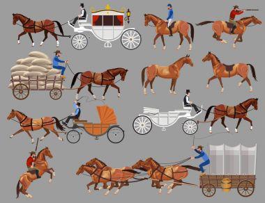 Horses and horse-drawn vehicles.