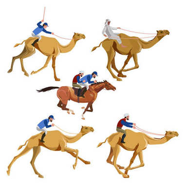 Running camels with riders