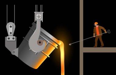 Steelmaker near the steel casting ladle