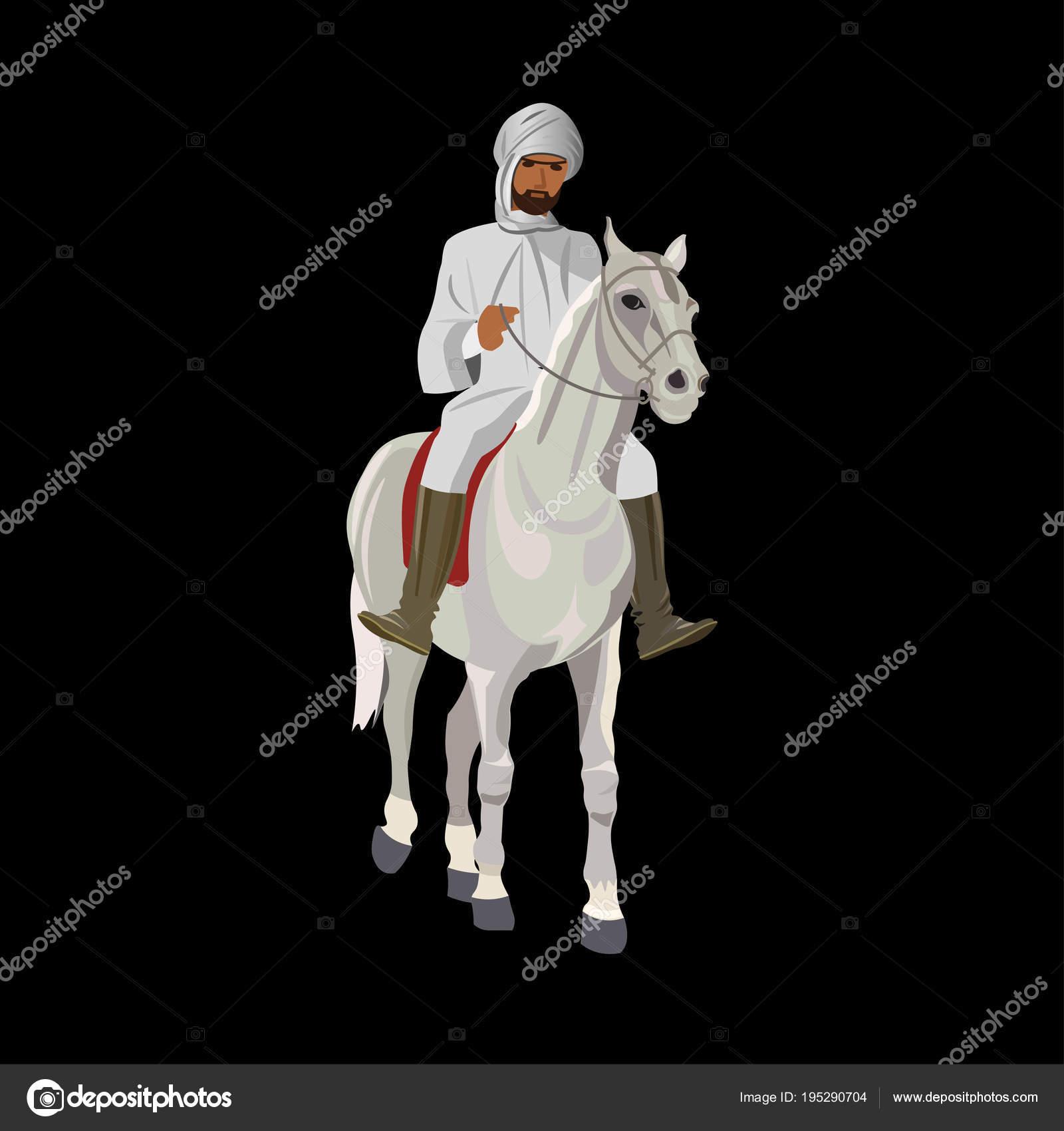 Jinete árabe a caballo — Vector de stock © newgena #195290704