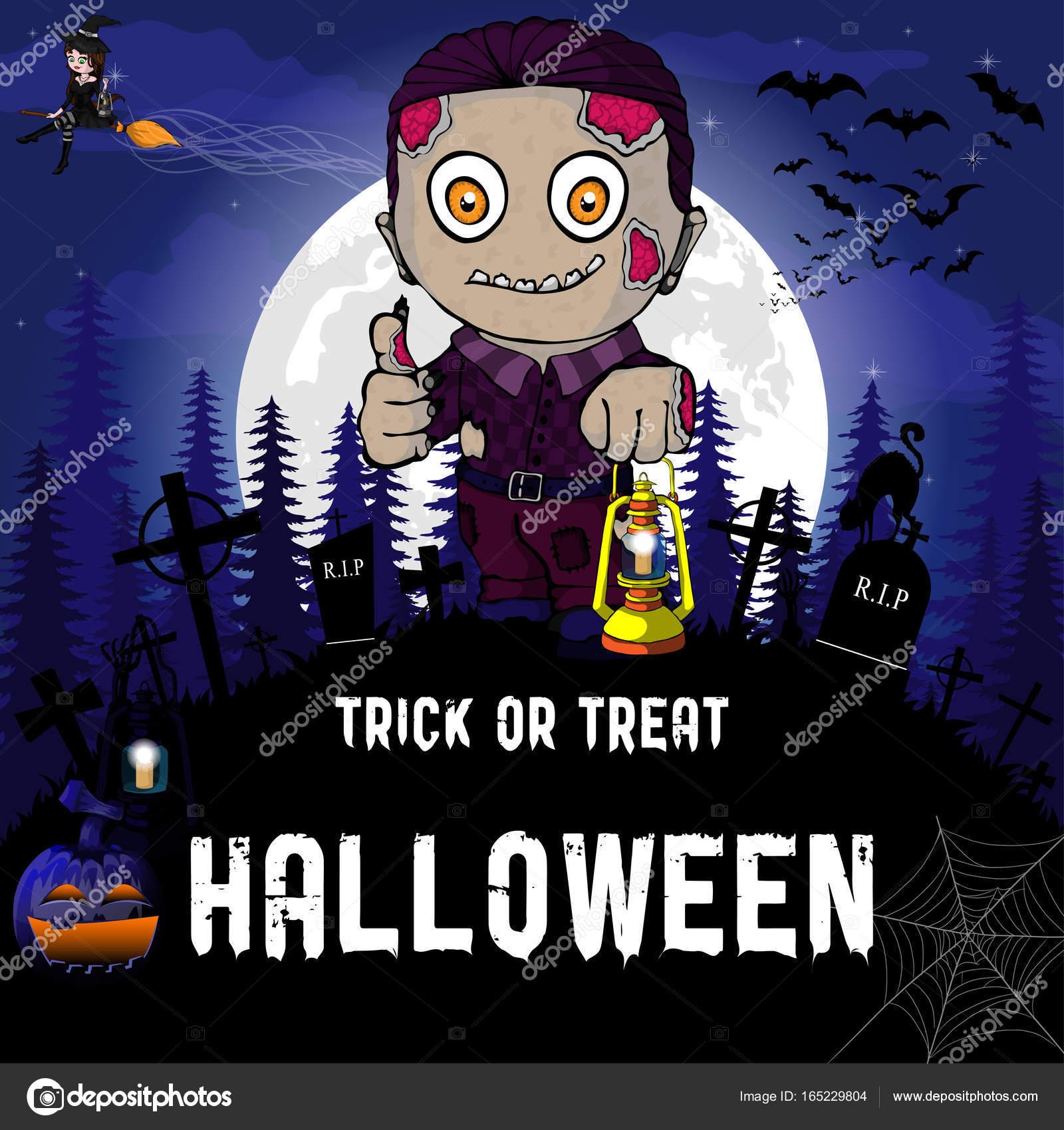 Halloween Party Design Vorlage Mit Hexe Zombie Kurbis Und Lampe