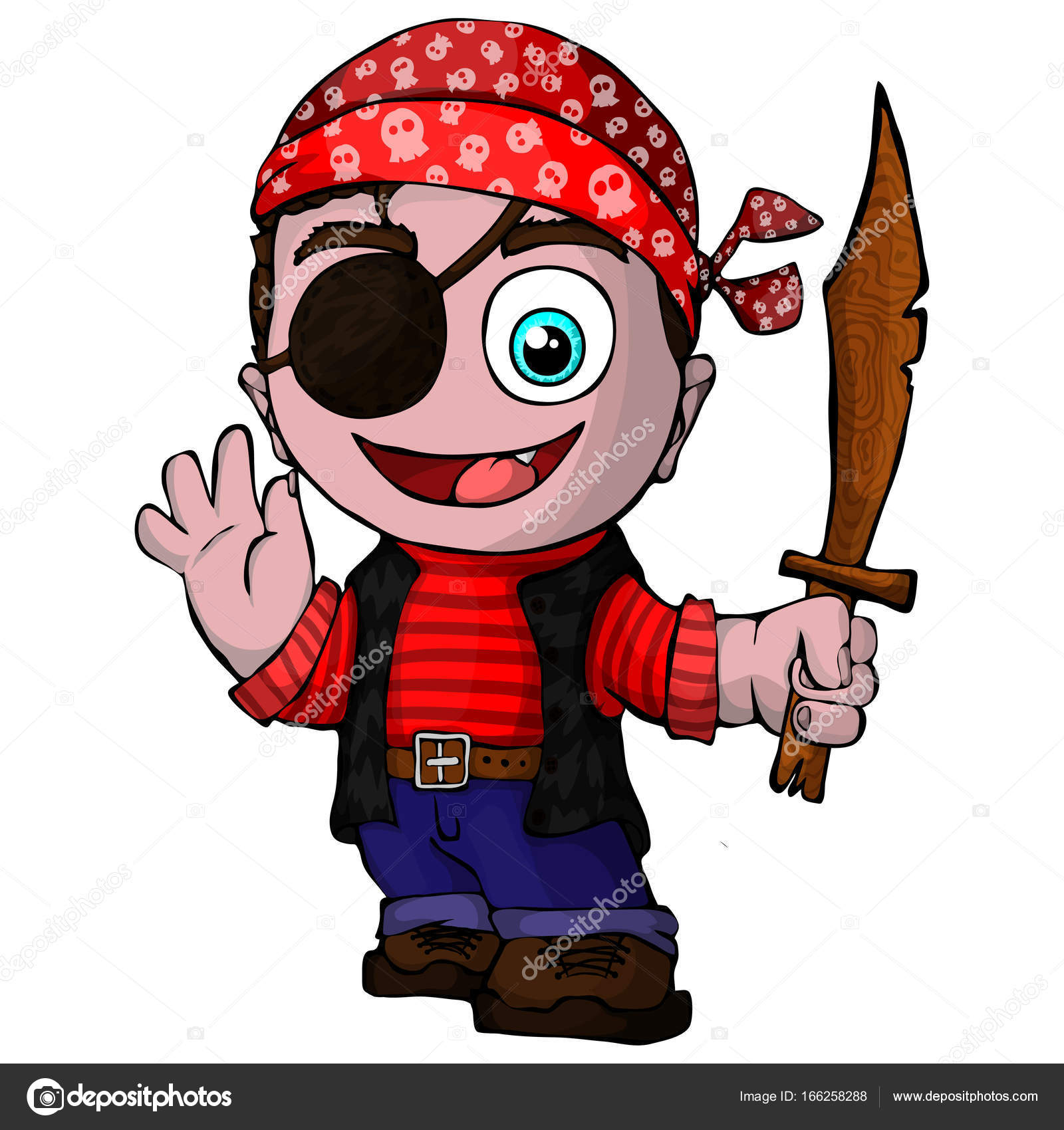 Pirata simpatico cartone animato — vettoriali stock