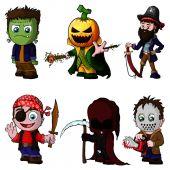 Sada znaků cartoon pro halloween
