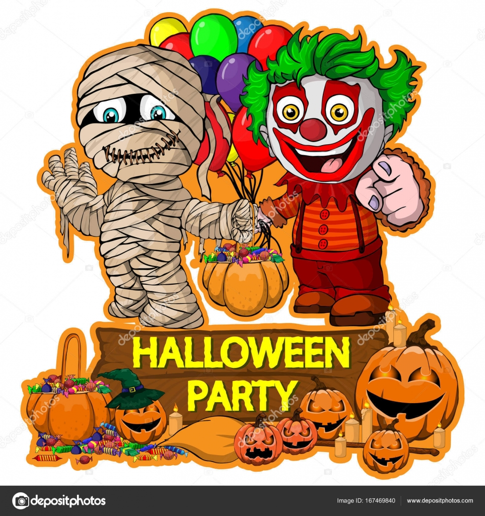 halloween poster design with vector mummy and clown characters