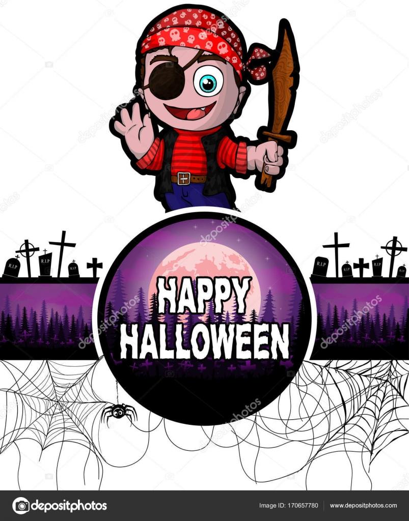 Happy Halloween Entwurfsvorlage mit niedlichen Cartoon Pirat ...