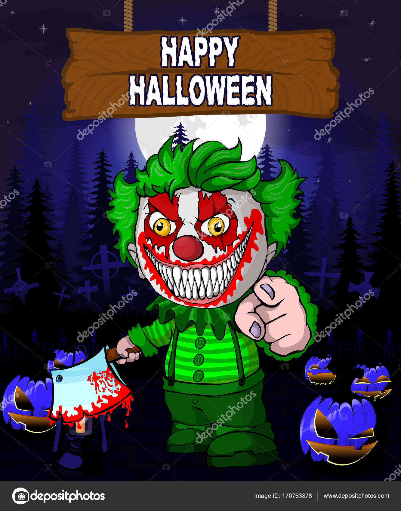 halloween design template with clown stock vector