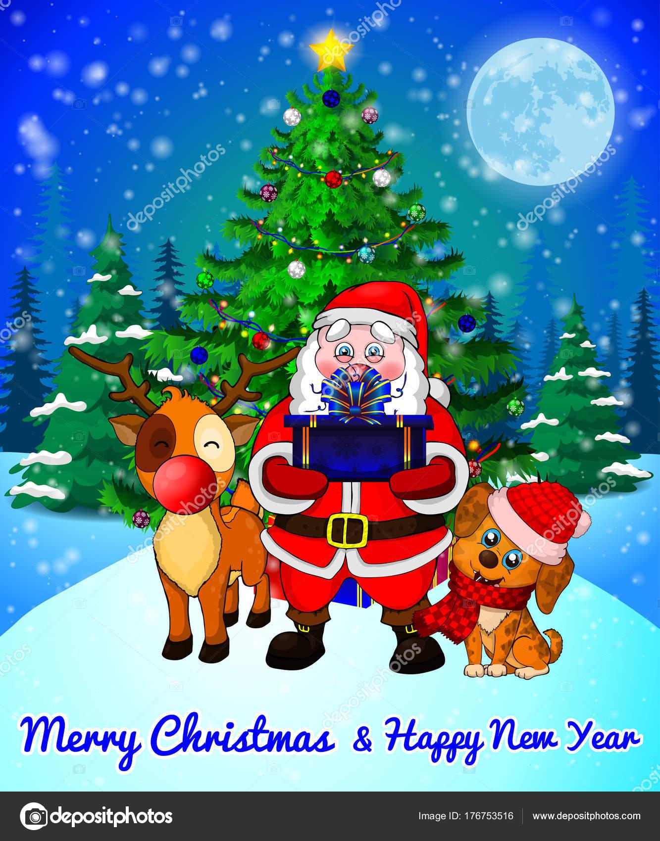 Merry Christmas Greeting Card With Cute Santa Cristmas Dog And Deer