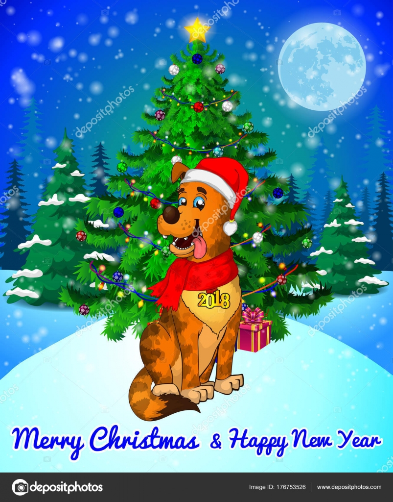 Merry Christmas Greeting Card With Cute Dog On Forest And Snowflakes