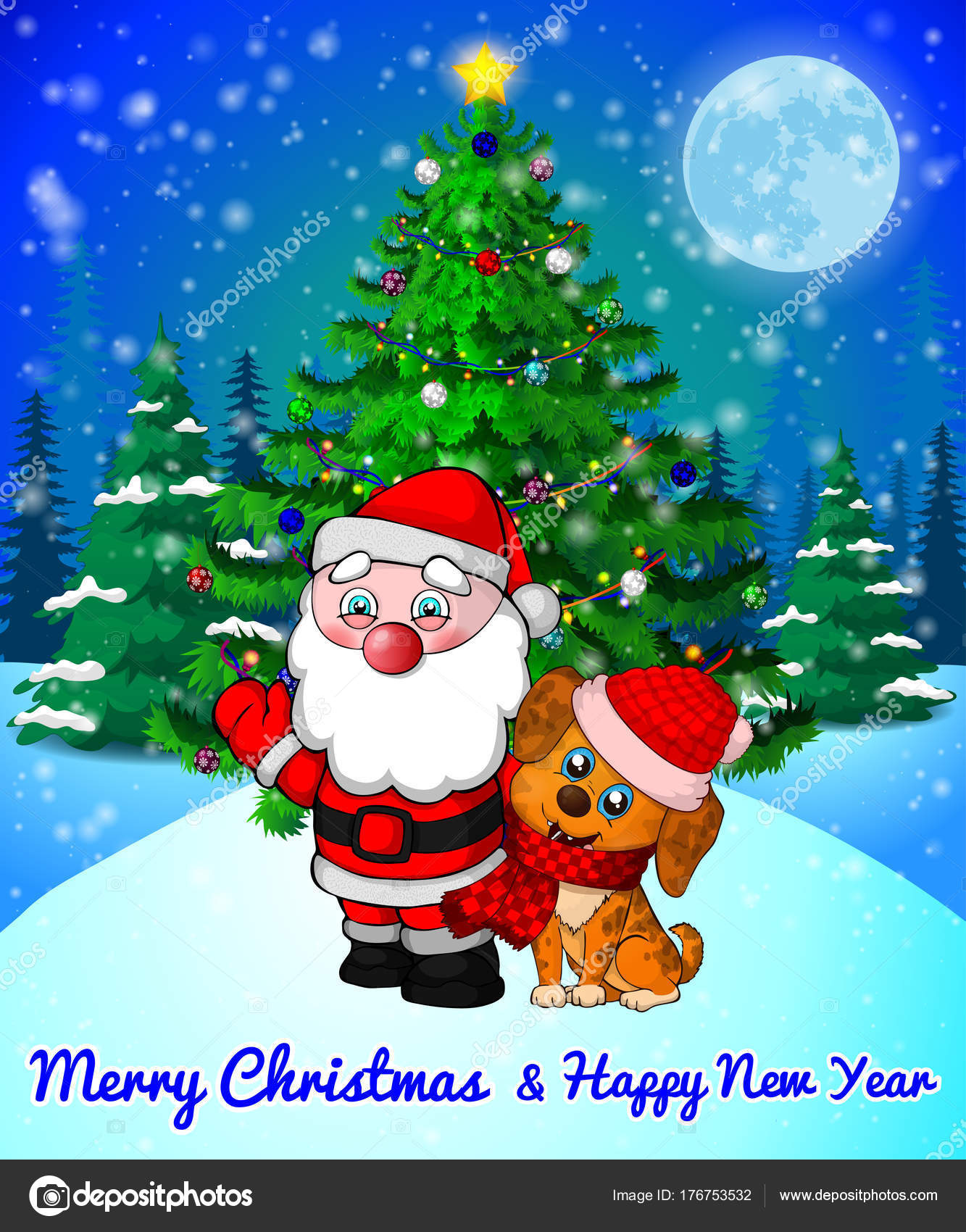 Merry Christmas greeting card with cute Santa and cristmas dog on ...
