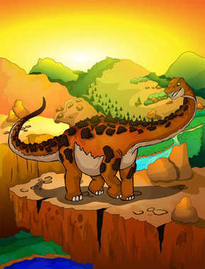 Cute cartoon titanosaur with landscape background. Vector illustration of a cartoon dinosaur.