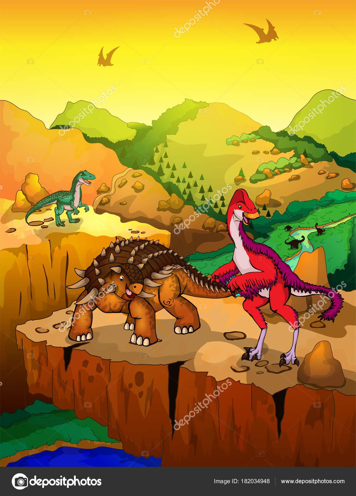 Un cartone animato di dinosauri scarica gratis arte vettoriale