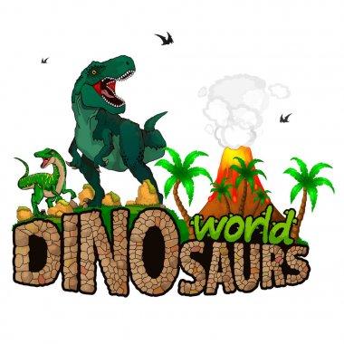 Logo  Dinosaurs World. Vector illustration