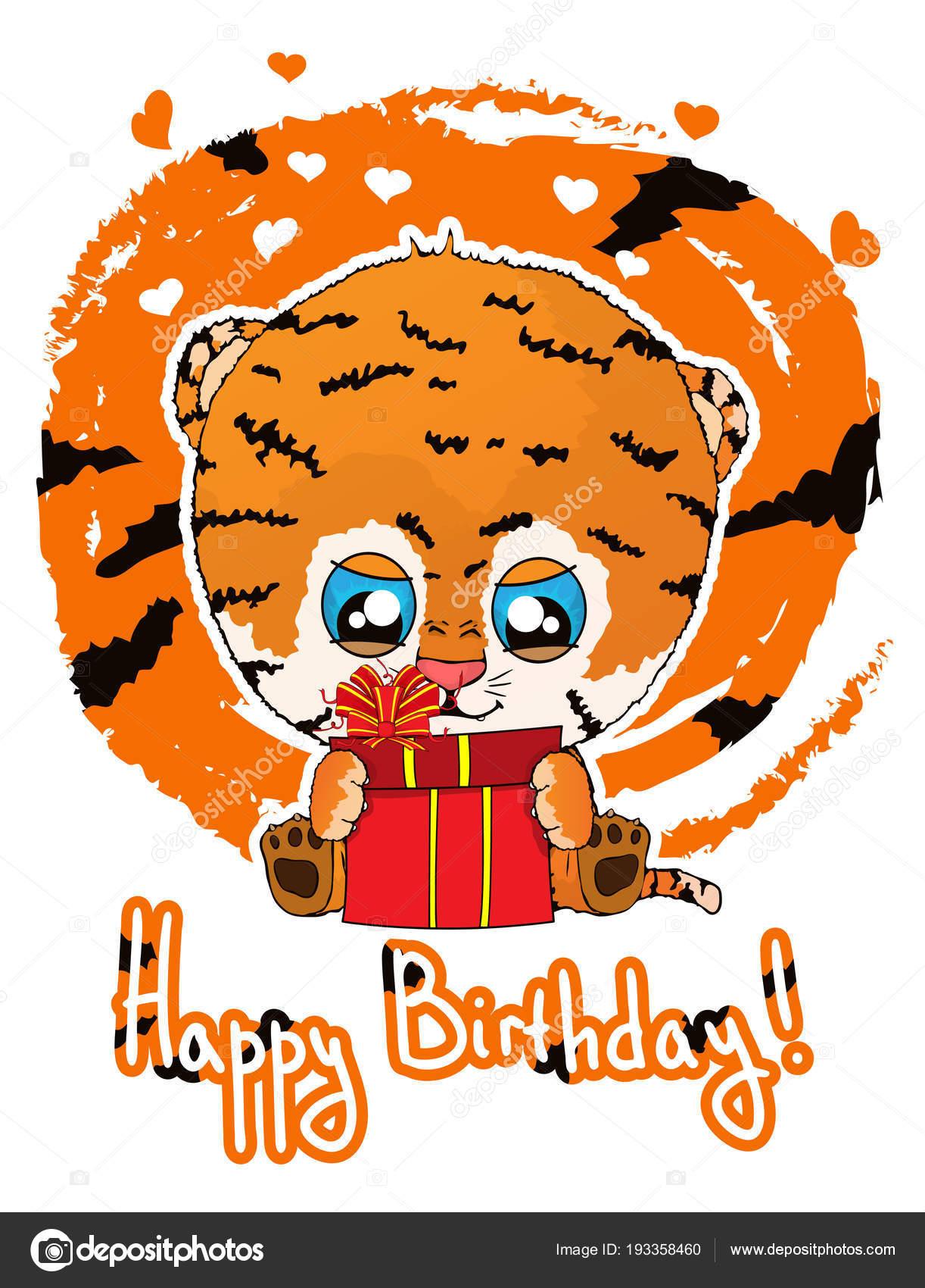 Cartolina D Auguri Di Buon Compleanno Con Cucciolo Di Tigre Sveglio