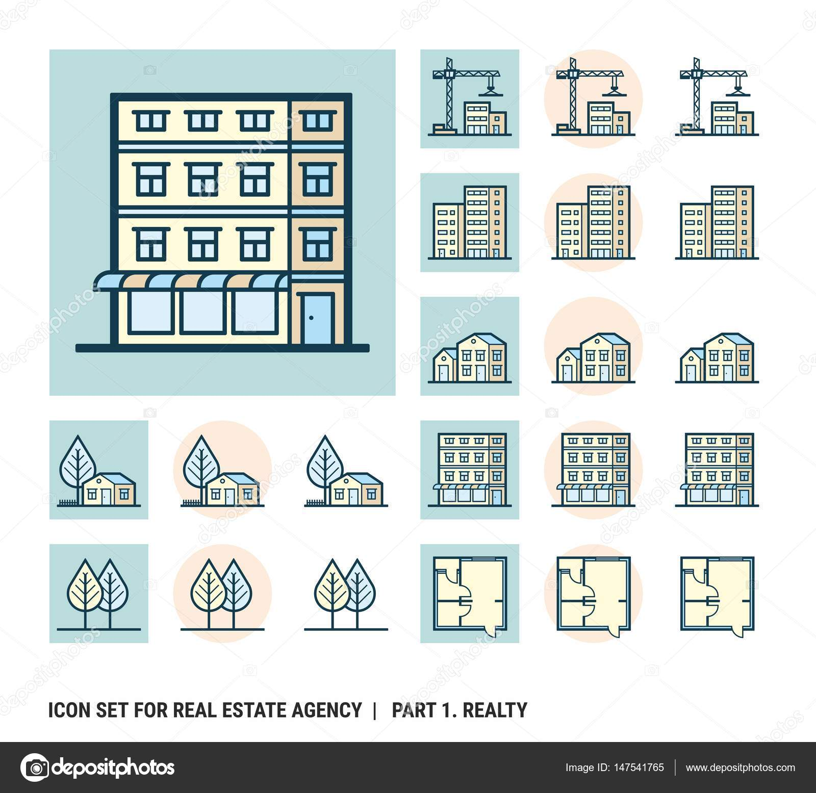 Real Estate Development Icon : Icon set for real estate agency part realty — stock