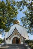 Fotografie Die Kirche St. Nikolaus des Wundertäters und Märtyrerin Zarin Alexandra ist der Schutzpatron der königlichen Familie. Jalta, Crimea
