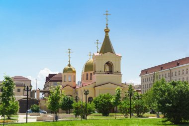 Domes of the Church of Archangel Michael on the Avenue named after Akhmat Kadyrov in Grozny