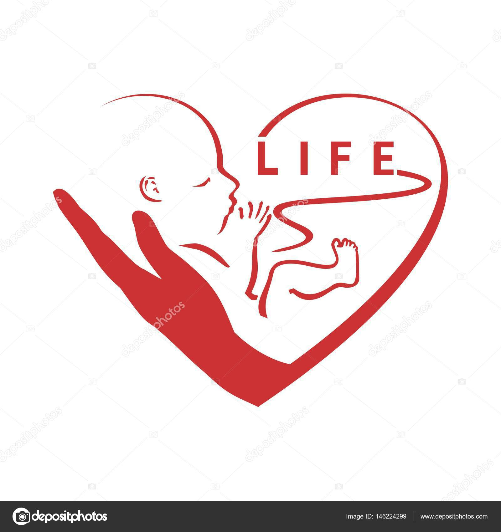 Pro Life A Symbol Of The Defense Of Life Logo Stock Vector