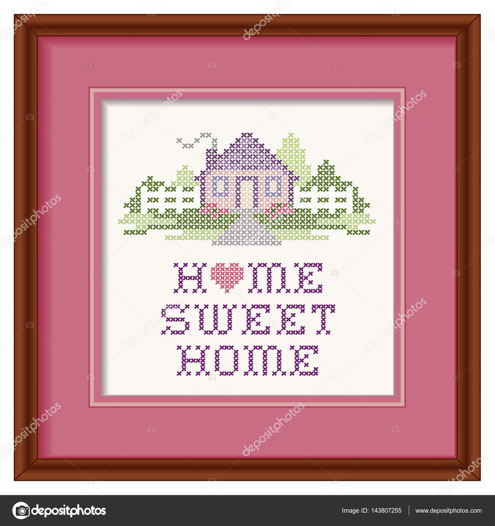 Home Sweet Home Cross Stitch Heart Embroidery, Pastels, Wood Picture ...