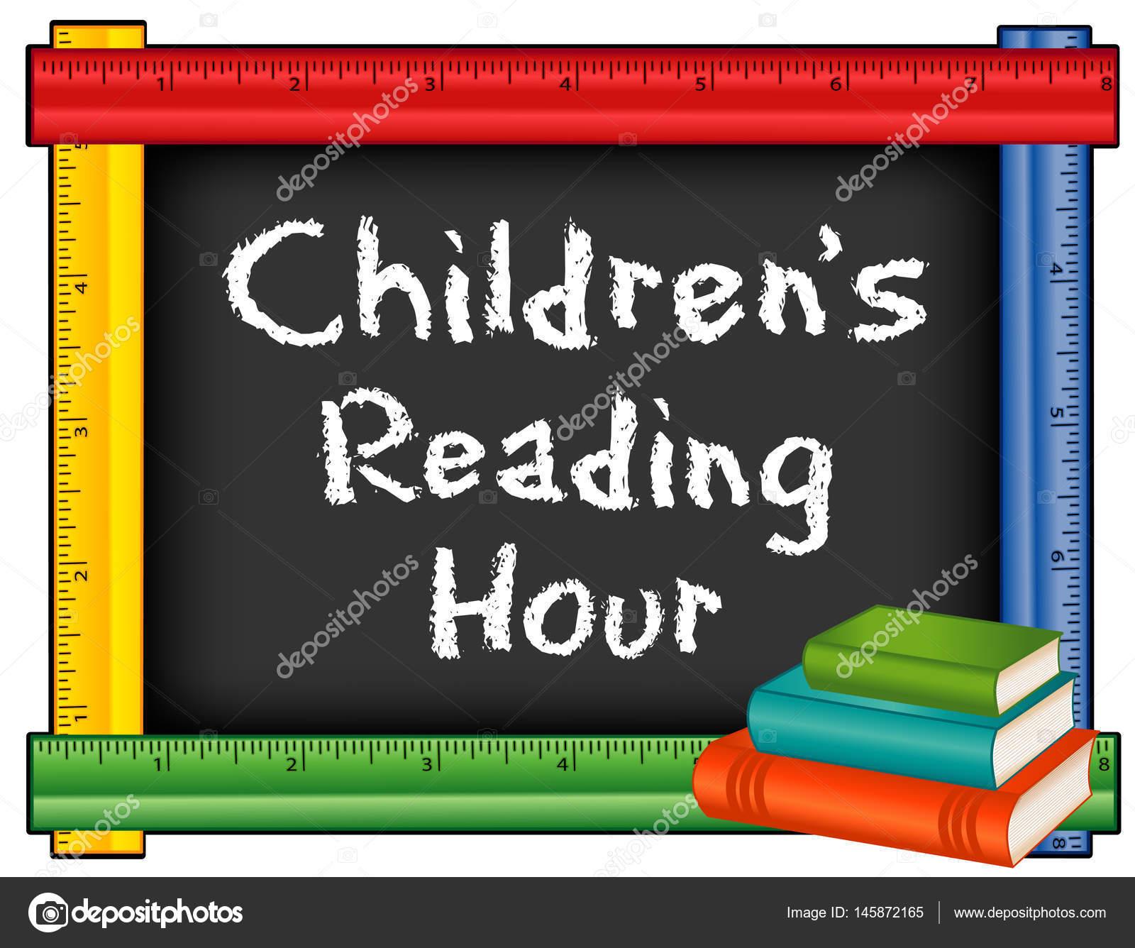 Hora de lectura para niños, marco de regla con libros — Archivo ...